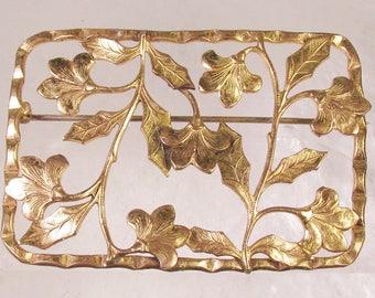 Beautiful Art Nouveau Rectangular Brass Floral Sash Pin, Gorgeous Patina!