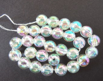 42 Vintage Clear AB Round Glass Smooth 8mm Beads
