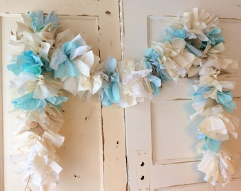 Baby Boy Burlap Shower Party Decoration.  6-10 foot fabric Garland Banner. Burlap Party Decor & Backdrop for Baby Boy Shower
