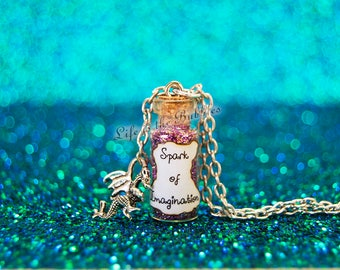 Disney One Little Spark of Imagination Necklace, Figment Dragon Charm, Epcot Journey into Imagination Ride, Disney Bound, Figment Necklace