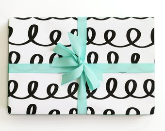 Black and White Gift Wrap Cute Wrapping Paper Rolls Birthday Gift Wrapping Paper Sheets Hand Drawn Wholesale Paper Goods Trendy Wrapping