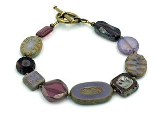 Purple Tone Czech Glass Bead Bracelet