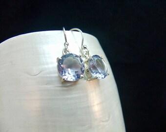 Handmade Alexandrite Gemstone Sterling Silver Drop Earrings