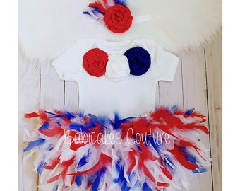 Red White and Blue Feather Bloomer, 4th of July Pageant, 4th of July Costume, Memorial Day Outfit, 4th of July Outfit, Babys 1st 4th of July