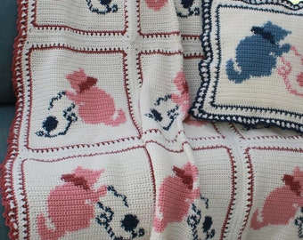 Country Kittens Afghan Crochet Pattern PDF