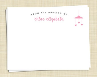 10 Personalized Baby Thank You Cards - Girl - Boy - Twins - From The Nursery Of - PRINTED