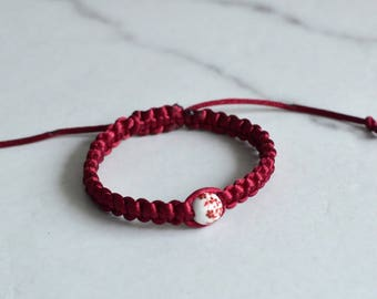 Red Shamballa braceler with glass bead - Shamballa bracelet - Bracelet for friends - gift for friend -