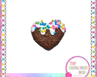 23mm CHOCOLATE HEART COOKIE Cabochons, Qty 2, Flatback Cookie Resin, Decoden, Phone Decor, Japanese Cabochon, Scrapbook, Embellishment