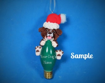 Red and White Australian Shepherd Dog Christmas Holidays Light Bulb Ornament Sallys Bits of Clay PERSONALIZED FREE