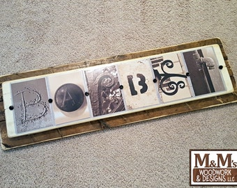 Last Name Sign - Photo Letter Art Wood Mounted - Custom Personalized Wedding Rustic Distressed Hanging Wall Decor