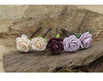 Purple , Peach Mulberry Paper Flower Hair Pins , Bridal Hair Pins, Hair Bobby Pins,U pins,Prom,Bridal Hair Accessories (FL334)