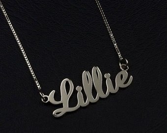 Name Necklace Silver, Custom Name Necklace, Personalized Jewelry, Name Jewelry, Sterling Silver Necklace, Gift, Nameplate Necklace Silver