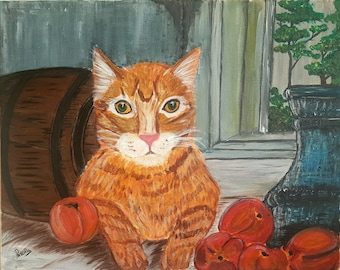 "Ginger Cat, Orange Tabby Cat Painting, Acrylic painting, Ginger Cat Painting, Cat Painting, Orange Cat Painting, Curious Tabby Cat 16"" X 20"""