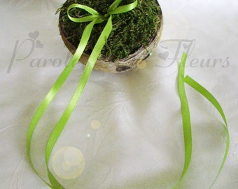 coconut, MOSS ring holder and lime green ribbon to customize unique
