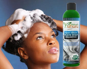 Liquid African Black Soap infused with Biotin, Caffeine, Saw Palmetto & Hydrolyzed Rice Protein