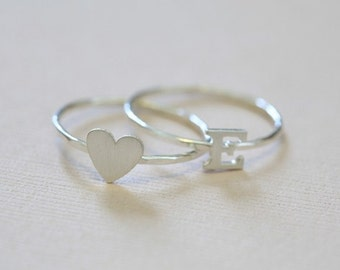 initial ring and heart ring set, stackable rings, dainty rings - sterling silver