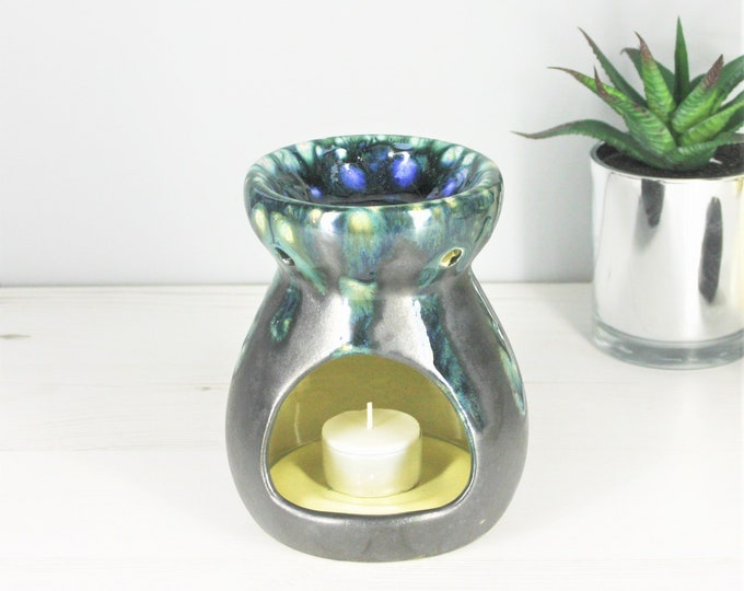 Crystal Wax Warmer, Wax Oil Burner, Ceramic Glaze, Tea Light Holder, Candle Melts, Sparkle House Gift, Weird Wonderful, Green Crystals