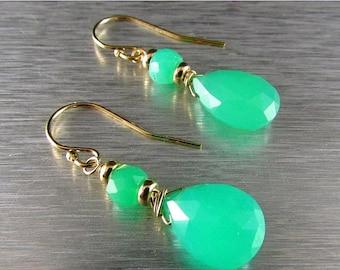 15% Off Chrysoprase Drop Gold Filled earrings