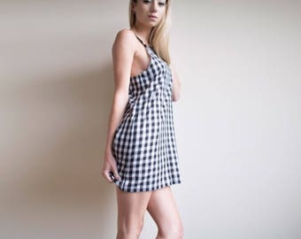 Gingham Slouch Mini Dress, Large Check in Black and White