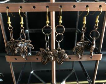 Bronze leaf drop earrings