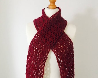 Red Scarf, Burgundy Scarf, Gift For Her, Christmas Stocking Filler, Crochet Scarf, Lacy Scarf, Chunky Scarf, Long Scarf, Women's Scarves