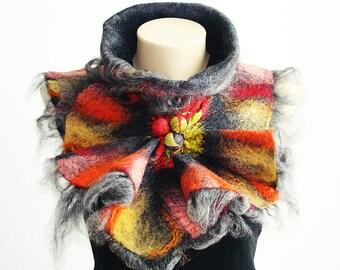 Felted Wool Scarf Neckpiece Collar. Wrap scarf. Fall Red & Grey Scarf. Chunky scarf  Shibori scarf Alpaca and silk