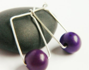 Sterling Silver Square Hoops - Purple Acai