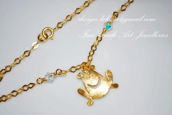 Frog Bracelet Sterling Silver Gold plated Jewelry Fine Greek Art Swarovski Crystals Chain Best Ideas Gifts Woman Girlfriend Love Luck Trust