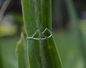sterling silver Mountain ring, blue ridge mountain ring, dainty silver ring, red ren jewelry, inexpensive jewelry