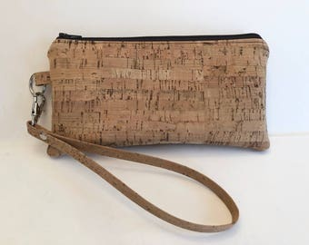 Cork Wristlet - Vegan - Sustainable - Cork clutch - Cork Purse - Eco Friendly - Gifts for Her - Ready to Ship