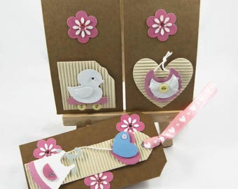 Baby girl gift tags, set of 3 tags, baby shower tags, new baby gift