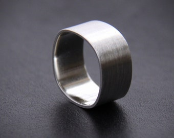 """Wide sterling silver ring for men or for women, unisex silver ring with modern square shape with brushed and shiny finish - """"Duality Ring"""""""