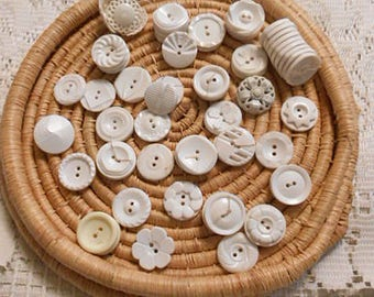 Vintage WHITE BUTTONS Mixed Bulk LOT Decorative Daisy Swirl Designs, Prs Sgls, Art Sewing Clothing Jewelry Collage, 65 pcs Destash Notions 7