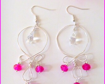Pink Crystal Beaded Wire Wrapped Long Dangle Earrings