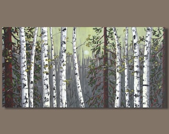 FREE SHIP birch tree painting, landscape painting, aspens trees, oblong panoramic painting, forest painting, yellow gray, birch trees, 18x36