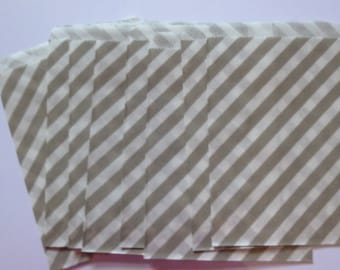 "25 Light Grey and White Striped Paper Treat Baggy- Goody Bitty Bags- Baby Bridal Shower Gift Bag-Candy, Treats, Utensil Baggy- 5"" x 7"""