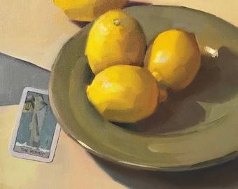 "Fine Art painting Tarot card still life ""The Hermit"" 10x10"" original oil on canvas by Sarah Sedwick"