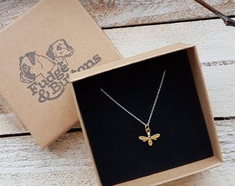 Sterling Silver Bee Charm Necklace • Gift, mum, daughter. Anniversary, Birthday, Christmas •
