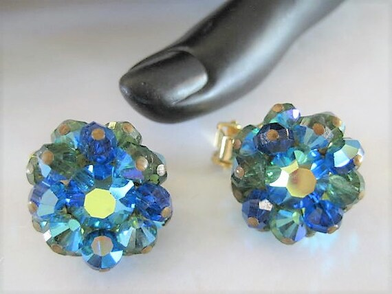 Hobe Blue Earrings, Signed Aurora Borealis Faceted, Hobe Bead Clip Ons, Gift for Woman