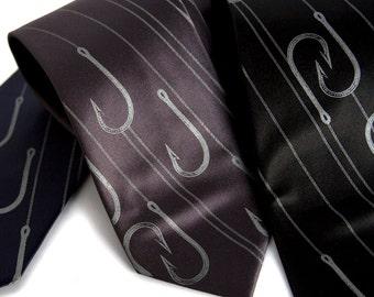 "Fishing necktie, Angler's fish hooks tie. ""Playing Hooky."" Dove gray silkscreen print. Fisherman, sportsman gift. Standard or narrow size."