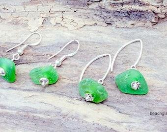 Green Sterling Earrings, Sea Glass Earrings, Beach Earrings, Pierced Earrings, Sea Glass Jewelry, Etsy Sea Glass, Seaglass