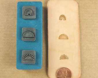 "1/2"" Bursts Ornamental Stamps by Melody Ross / Set of 3 / Use On Chipboard And Leather"