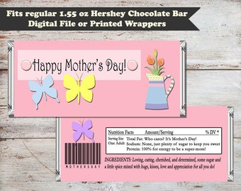 Mother's Day Candy Bar Wrappers, Mothers Day Gifts, Butterfly Candy Wrapper, Chocolate Candy Bar Wrapper, Digital File Gift INSTANT DOWNLOAD