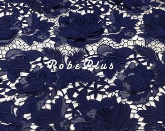Guipure Lace - Blue lace fabric-Premium floral lace- Embroidered Lace-Navy lace fabric-Floral Embroidered Navy Lace- Midnight Blue Lace-L9