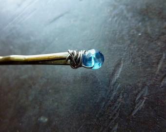 4mm London Blue Topaz Bobby Pin - Something Blue - Gemstone Bobby Pin