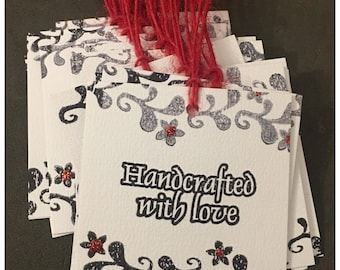 Handcrafted with Love Handmade Distressed Tags Cards Customer Thank You Customize Set of 15