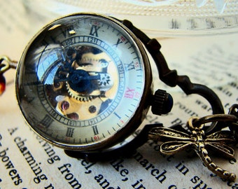 Steampunk Temps Perdu II Orb Watch Tassel Necklace -  Mechanical Watch Travel Long Necklace