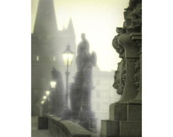 Charles Bridge Photography, Prague Photography, Fine Art Photography, Foggy Mist, Charles Bridge Statues, Misty Prague