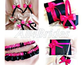 Hot pink and black weddings ring bearer pillow, flower girl basket, guest book, cake set, bridal garters, flutes.