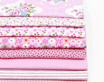 8pcs 20*25cm 100% Cotton Fabric Quilting Sewing and Craft Project Pink Floral Dotted Stripe Patchwork Tilda DIY